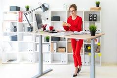 Młoda dziewczyna stoi blisko stołu w biurze, trzymający majcherów i czarnego markiera Dziewczyn pracy z komputerem Obrazy Stock
