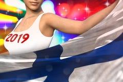 Młoda dziewczyna trzyma Finlandia flagę w przodzie na partyjnych światłach - bożych narodzeń i 2019 3d nowego roku pojęcia chorąg ilustracji