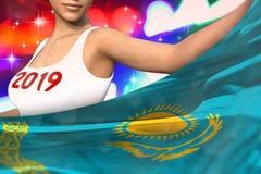 Młoda dziewczyna trzyma Kazachstan flagę w przodzie na partyjnych światłach - bożych narodzeń i 2019 3d nowego roku pojęcia chorą ilustracja wektor