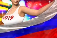 Młoda dziewczyna trzyma Rosja flagę w przodzie na partyjnych światłach - bożych narodzeń i 2019 3d nowego roku pojęcia chorągwian ilustracji