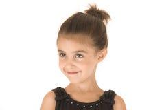 Młoda dziewczyna w czarnego leotard uśmiechniętej głowie obracającej Obrazy Stock