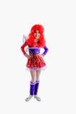 Młoda dziewczyna w kolorowym karnawałowym kostiumu fotografia stock