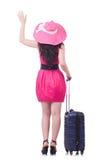 Młoda dziewczyna w menchii sukni Zdjęcie Stock