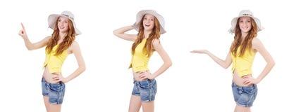 Młoda dziewczyna w mod pojęciach odizolowywających na bielu Zdjęcie Stock