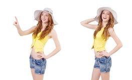 Młoda dziewczyna w mod pojęciach odizolowywających na bielu Zdjęcie Royalty Free