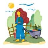 Młoda dziewczyna w ogródzie angażuje w przeszczepianie roślinach Ogrodowa fura i ogród Ilustracja w mieszkanie stylu ilustracji