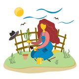 Młoda dziewczyna w ogródzie angażuje w przeszczepianie roślinach Rośliny w garnkach i ogródzie Ilustracja w mieszkanie stylu royalty ilustracja