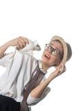 Młoda dziewczyna w surowych szkłach z białym szczurem 6 Obraz Royalty Free
