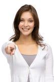 Młoda dziewczyna wskazuje z ręką Obraz Stock