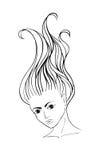 Młoda dziewczyna z długim fliying włosy Fotografia Royalty Free