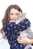 Młoda Dziewczyna z kotem zdjęcie stock