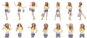 Młoda dziewczyna z Panama i torebka w mod pojęciach odizolowywających Obrazy Stock