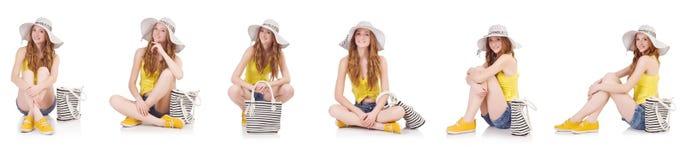 Młoda dziewczyna z Panama i torebka w mod pojęciach odizolowywających Zdjęcia Royalty Free