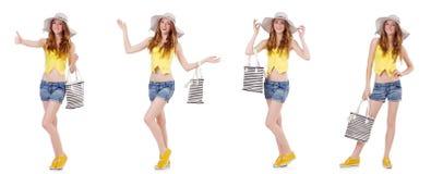 Młoda dziewczyna z Panama i torebka w mod pojęciach odizolowywających Fotografia Stock