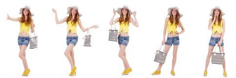 Młoda dziewczyna z Panama i torebka w mod pojęciach odizolowywających Zdjęcie Stock