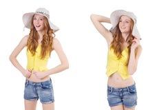 Młoda dziewczyna z Panama w mod pojęciach odizolowywających na bielu Obrazy Royalty Free