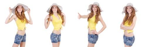 Młoda dziewczyna z Panama w mod pojęciach odizolowywających na bielu Obraz Royalty Free