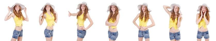 Młoda dziewczyna z Panama w mod pojęciach odizolowywających na bielu Zdjęcie Royalty Free