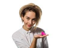 Młoda dziewczyna z różowym motylem 3 Zdjęcie Stock