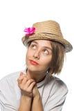 Młoda dziewczyna z różowym motylem 8 Obrazy Stock