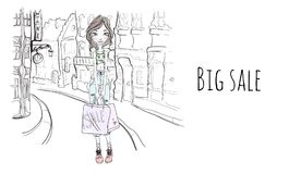 Młoda dziewczyna z torba na zakupy na ulicie miasto Wektorowa portret ilustracja w nakreślenie stylu ilustracja wektor