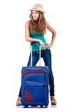 Młoda dziewczyna z walizką Obraz Royalty Free