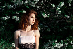 Młoda dziewczyna z wspaniałym zmrokiem - czerwony włosy na zielonym tle Kwitnie naturę Jabłonie w kwiacie zamknięci wiśnia kwiaty Zdjęcie Royalty Free