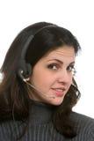 Kobieta z słuchawki obrazy royalty free