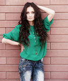 Młoda elegancka kobieta na ściana z cegieł backround Obraz Stock