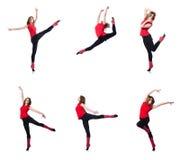 Młoda gimnastyczka ćwiczy na bielu Zdjęcie Stock