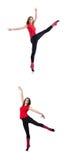 Młoda gimnastyczka ćwiczy na bielu Zdjęcia Royalty Free