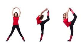 Młoda gimnastyczka ćwiczy na bielu Obraz Royalty Free