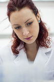 Młoda i piękna lekarka, lab, naukowa obsiadanie w białym co Zdjęcia Royalty Free