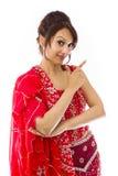 Młoda Indiańska kobieta robi smiley twarzy Zdjęcie Stock