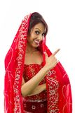 Młoda Indiańska kobieta robi smiley twarzy Zdjęcia Royalty Free
