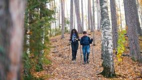 Młoda kędzierzawa kobieta i chłopiec na scandinavian spacerze w lesie Iść zjazdowy zbiory wideo