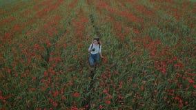 Młoda kobieca blogger kobieta w kwiatu polu zbiory wideo