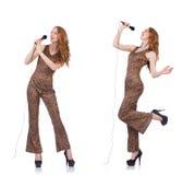 Młoda kobieta śpiew w karaoke odizolowywającym na bielu Zdjęcia Royalty Free