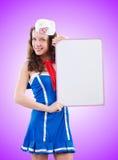 Młoda kobieta żeglarz w morskim pojęciu Zdjęcia Royalty Free
