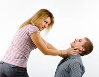 Młoda kobieta bój z mężczyzna Obraz Stock