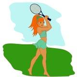 Młoda kobieta bawić się tenisa, freehand rysunek Obrazy Royalty Free