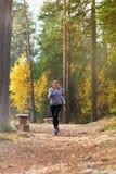 Młoda kobieta bieg w jesieni lasowy zmierzch zaświeca Obraz Stock