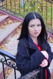 Młoda kobieta brunetka jest w jesień parku przeciw tłu drabina Zdjęcie Stock