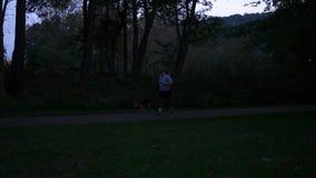 Młoda kobieta chodzi jej psa przy parkiem samotnie przy nocą - V1 zdjęcie wideo