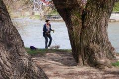 Młoda kobieta chodzi małego, bielu pies blisko rzeki Obrazy Royalty Free