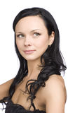 Młoda kobieta ciemny włosiany portret Obraz Royalty Free