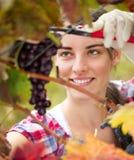 Młoda kobieta ciie wiązkę winogrona Zdjęcie Royalty Free