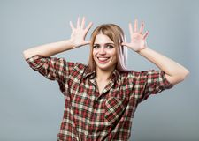 Młoda kobieta dokucza fotografia stock