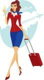 Młoda kobieta iść lot royalty ilustracja