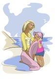 Młoda kobieta i jej dziecko na plaży ilustracja wektor